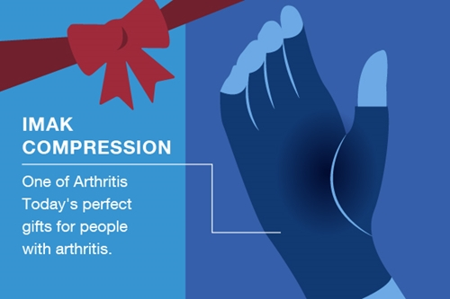 Illustration of IMAK compression gloves given as a gift for people with arthritis.
