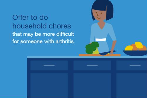 Offer to do household chores that may be more difficult for someone with arthritis.